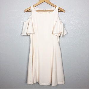 Eliza J | Cold Shoulder Crepe Fit & Flare Dress